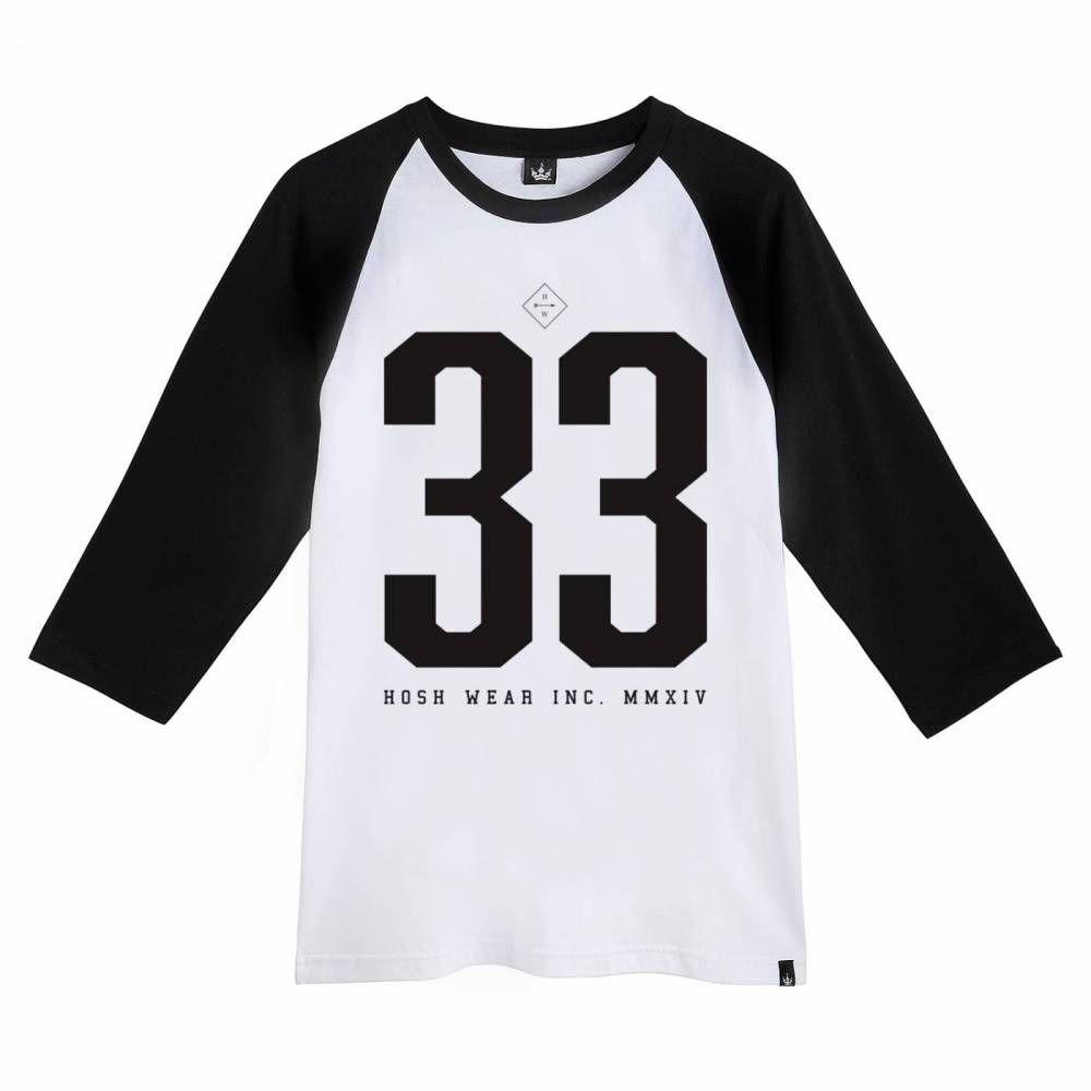 Camiseta Raglan Hoshwear 3/4 N.33 Branca
