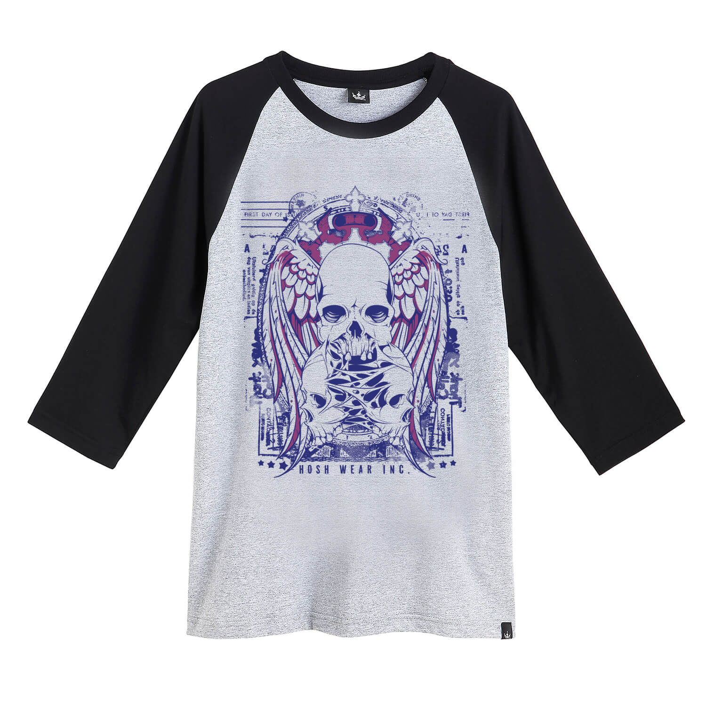 Camiseta Raglan Hoshwear 3/4 Skulls Mescla
