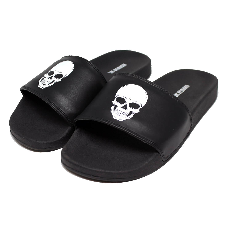 Chinelo Slide Hoshwear Skull Preto Unissex