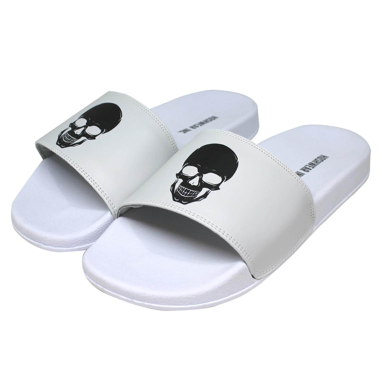 Chinelo Slide Hoshwear Skull Unissex Branco