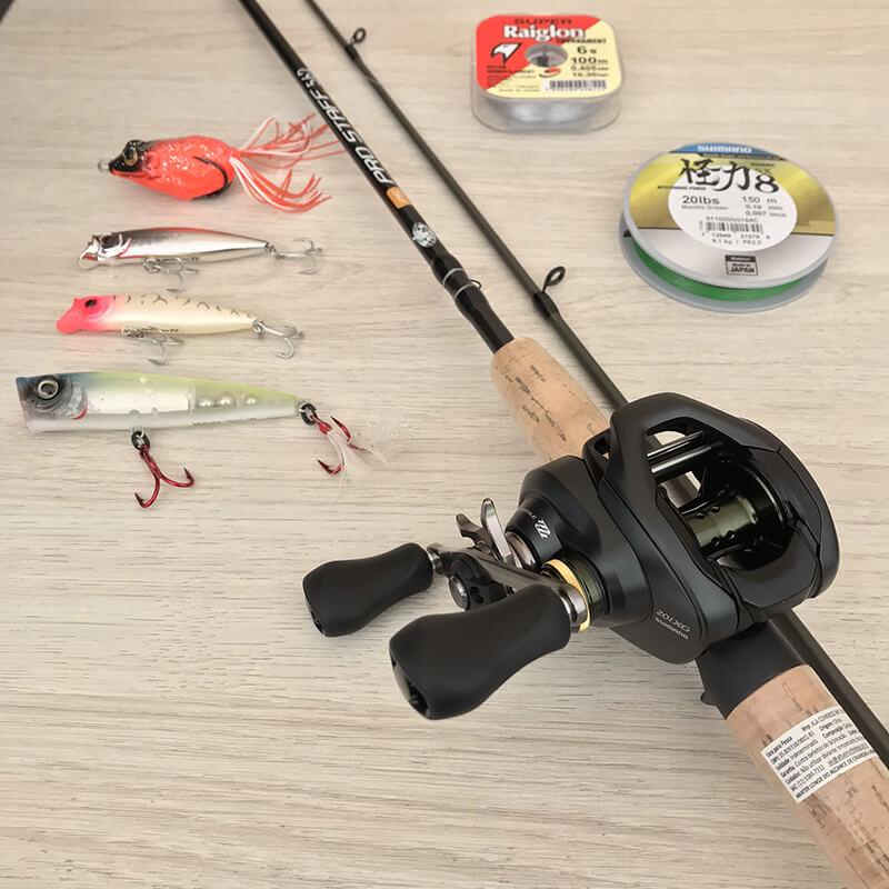 Kit Carretilha Curado 200 e Vara ProStaff Iscas  - Universo da Pesca