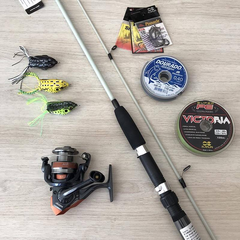 Kit Traira Molinete Okuma Aura e Vara Kara 1,80m  - Universo da Pesca