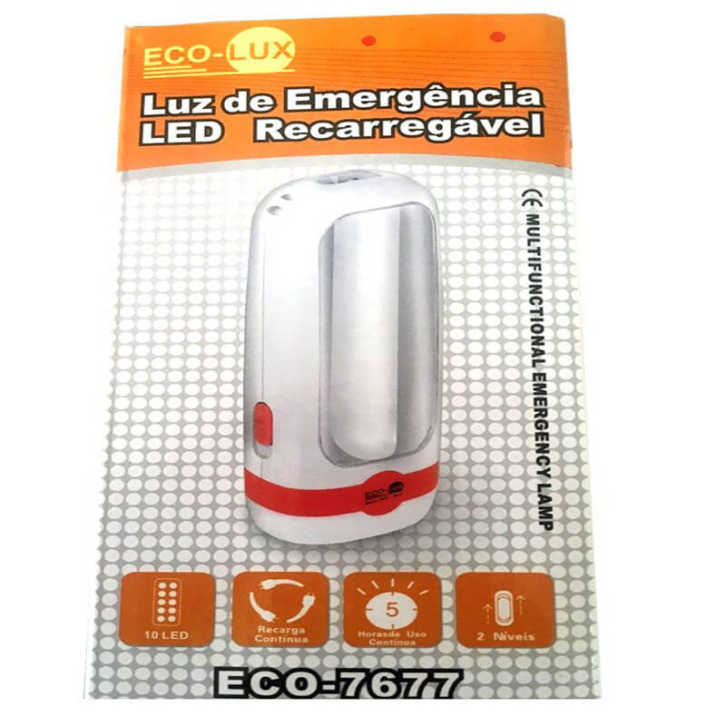LANTERNA ECO LUX ECO7677 01 LED C/ LUZ DE EMERGENCIA  - Universo da Pesca