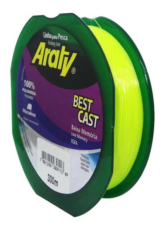 Linha Araty Best Cast 300M - 0,35mm - Amarelo  - Universo da Pesca
