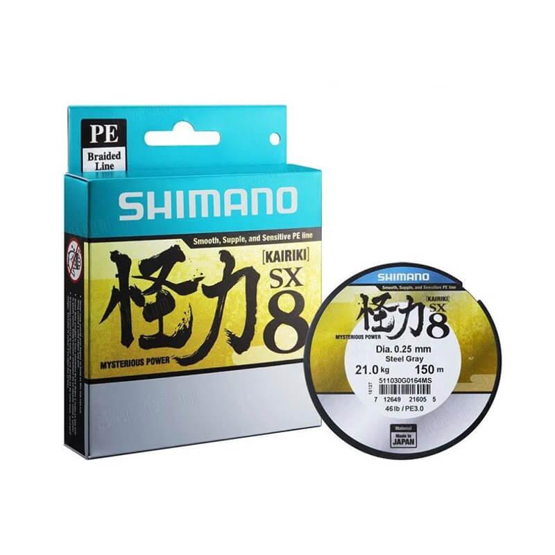 Linha Shimano Kairiki Cinza PE - 150M - 0,28mm - 40LB  - Universo da Pesca