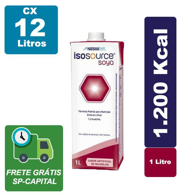 Isosource Soya Baunilha 1000ml Cx 12 litros - Nestlé