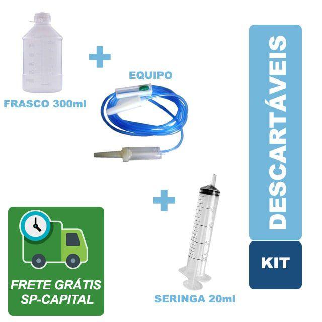 Kit Descartáveis Dieta Enteral 100 Frascos 300ml - 100 Equipos - 30 Seringas 20ml