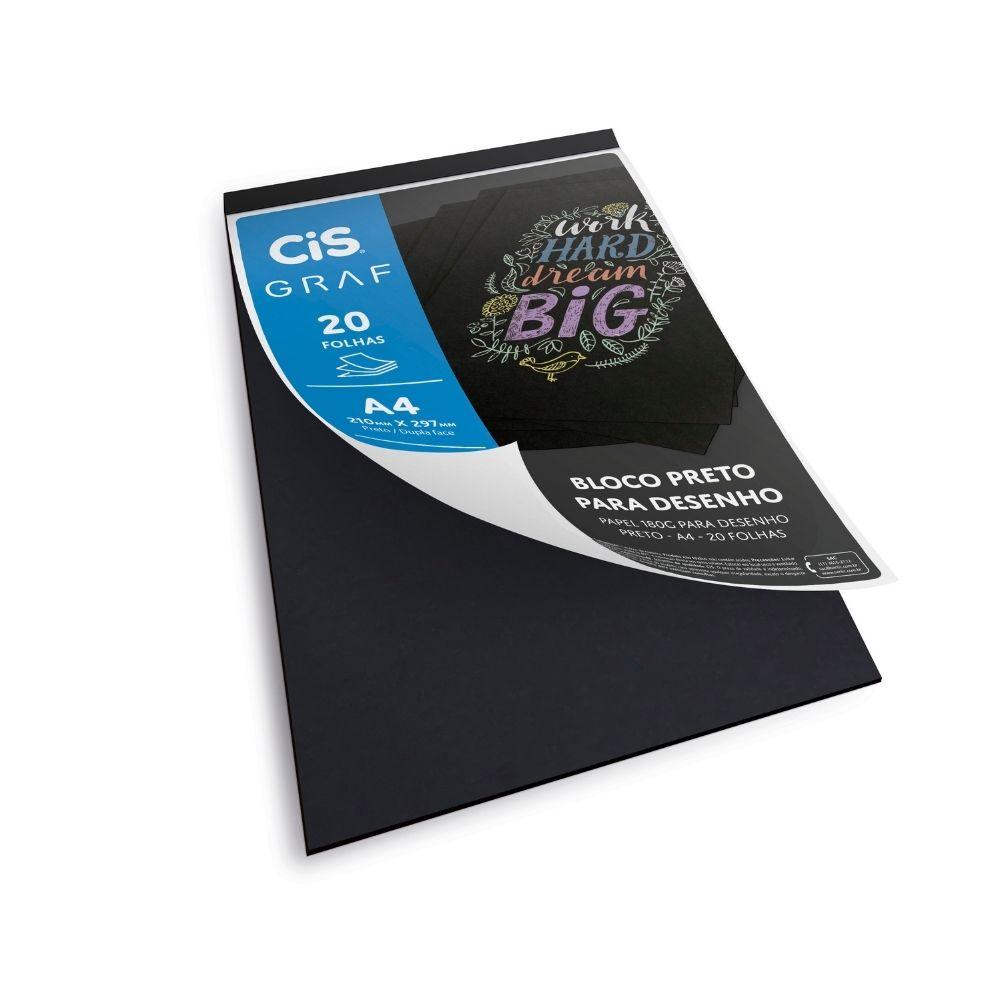 Bloco de papel para desenho preto cis graf - A4