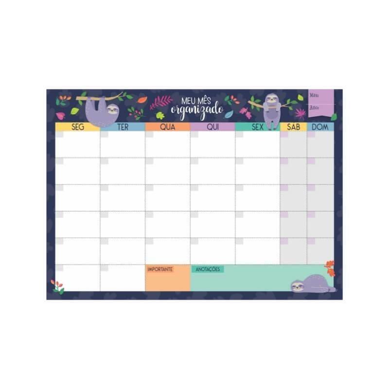 Bloco planner de mesa mensal bicho-preguiça