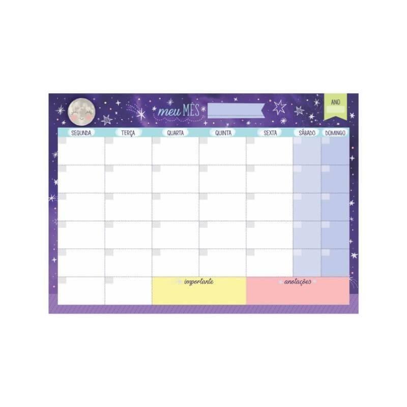 Bloco planner de mesa mensal constelação