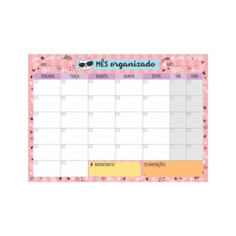 Bloco planner de mesa mensal gato