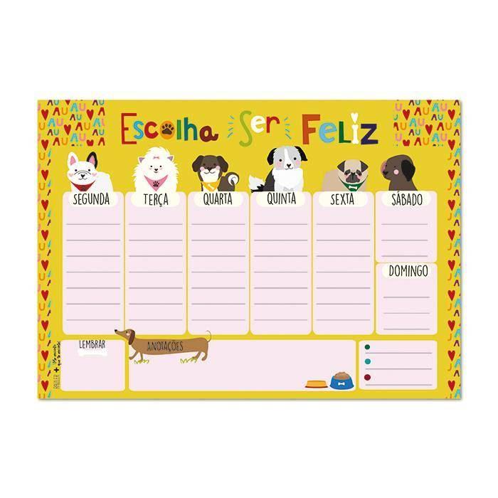 Bloco planner de mesa semanal cachorro