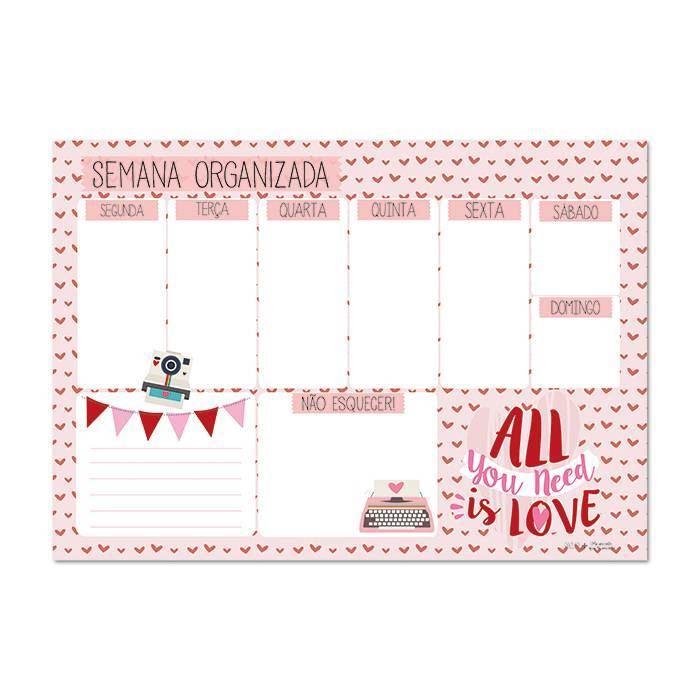 Bloco planner de mesa semanal love
