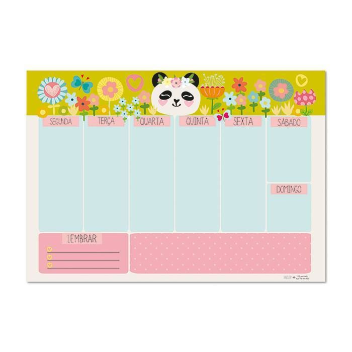 Bloco planner de mesa semanal panda