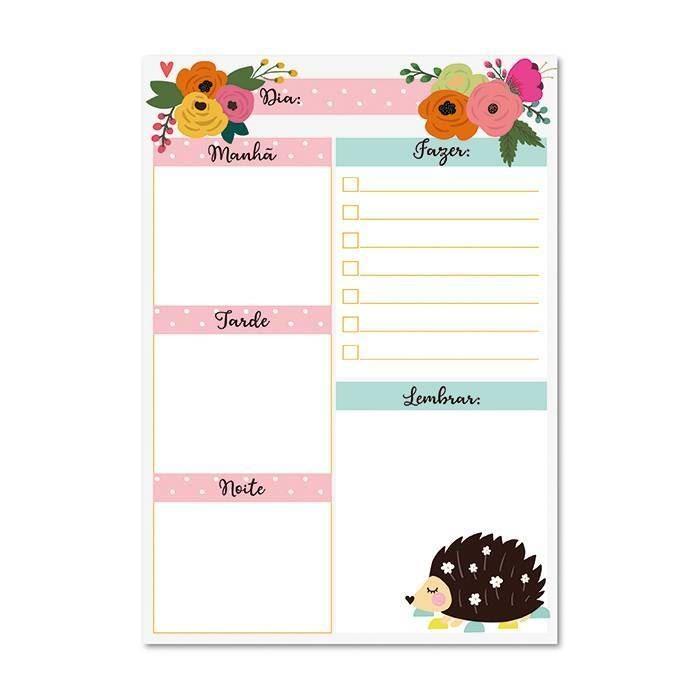 Bloco planner diário floral