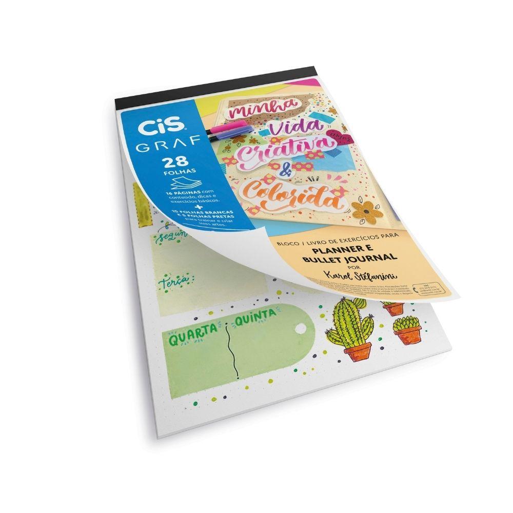 Bloco planner e bullet journal com livro de exercícios cis graf - A4