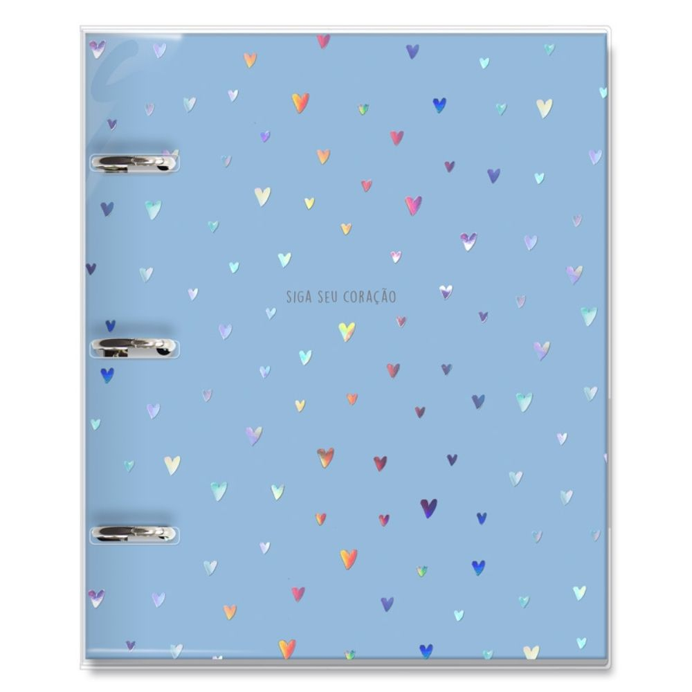 Caderno argolado fichário Corações holográficos