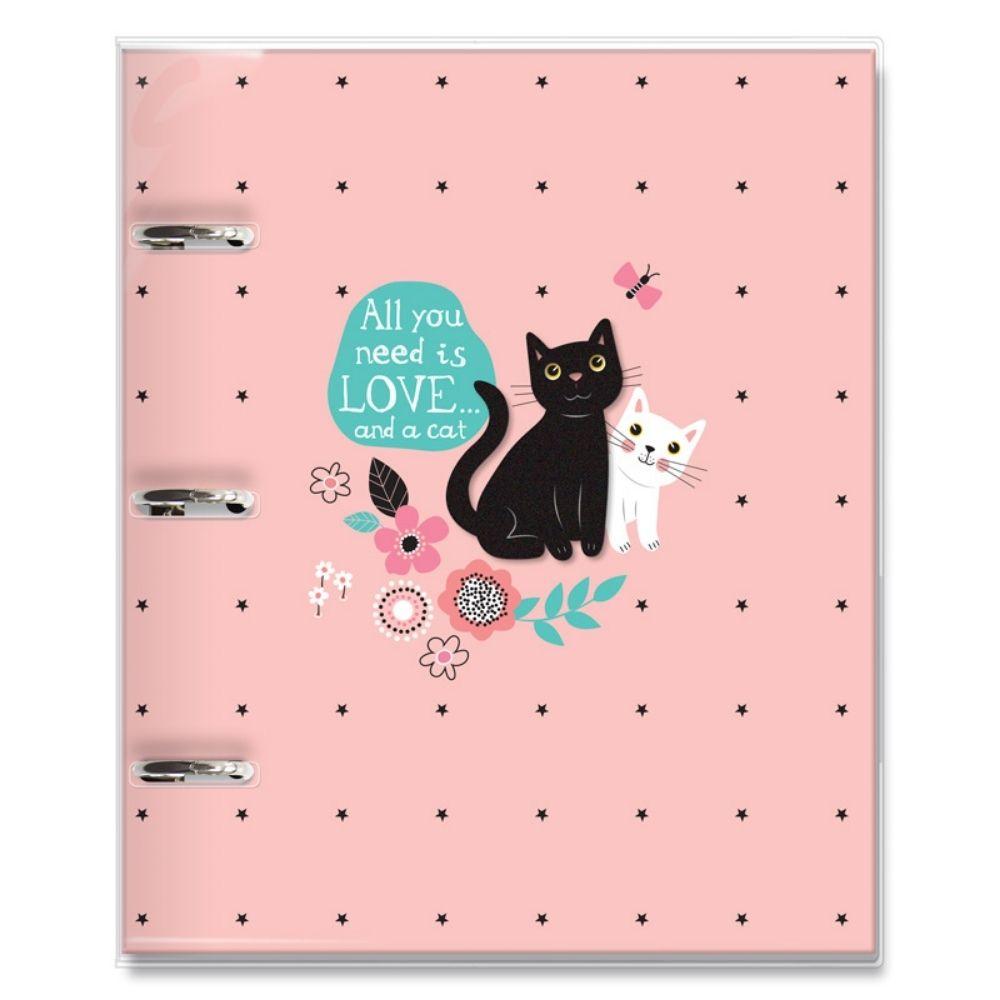 Caderno argolado fichário Gatos