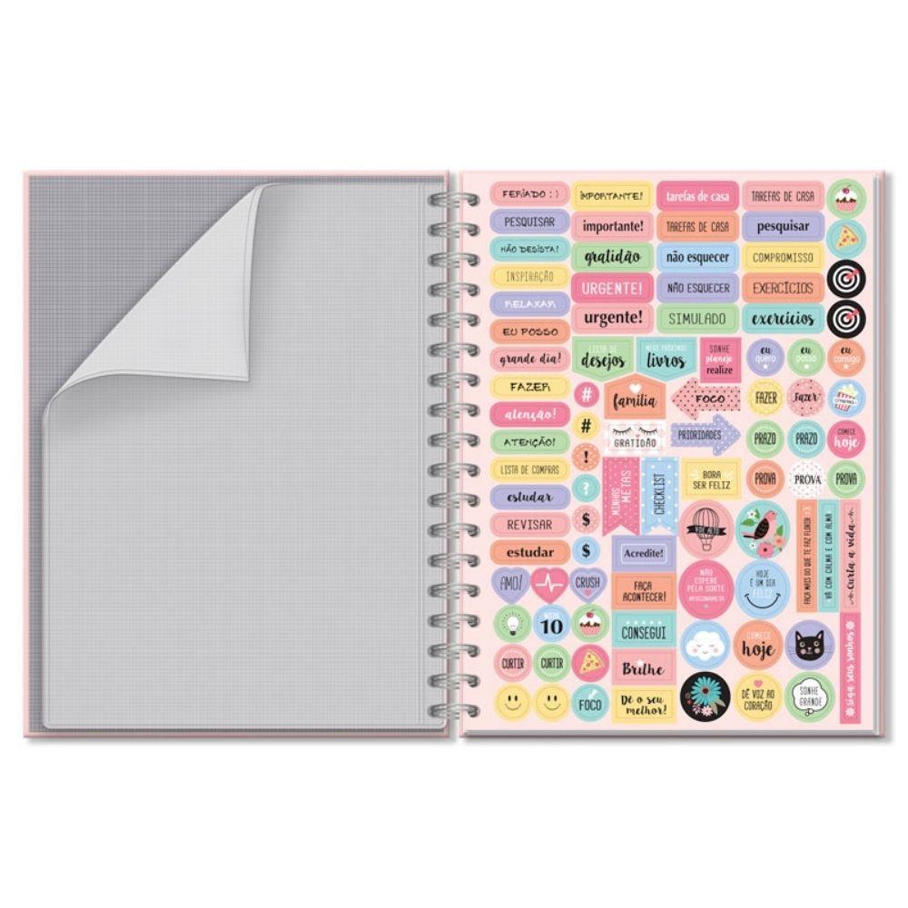 Caderno colegial Corações holográficos - 200 fls