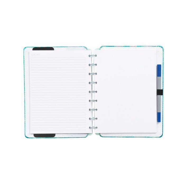 Caderno inteligente azul holográfico médio