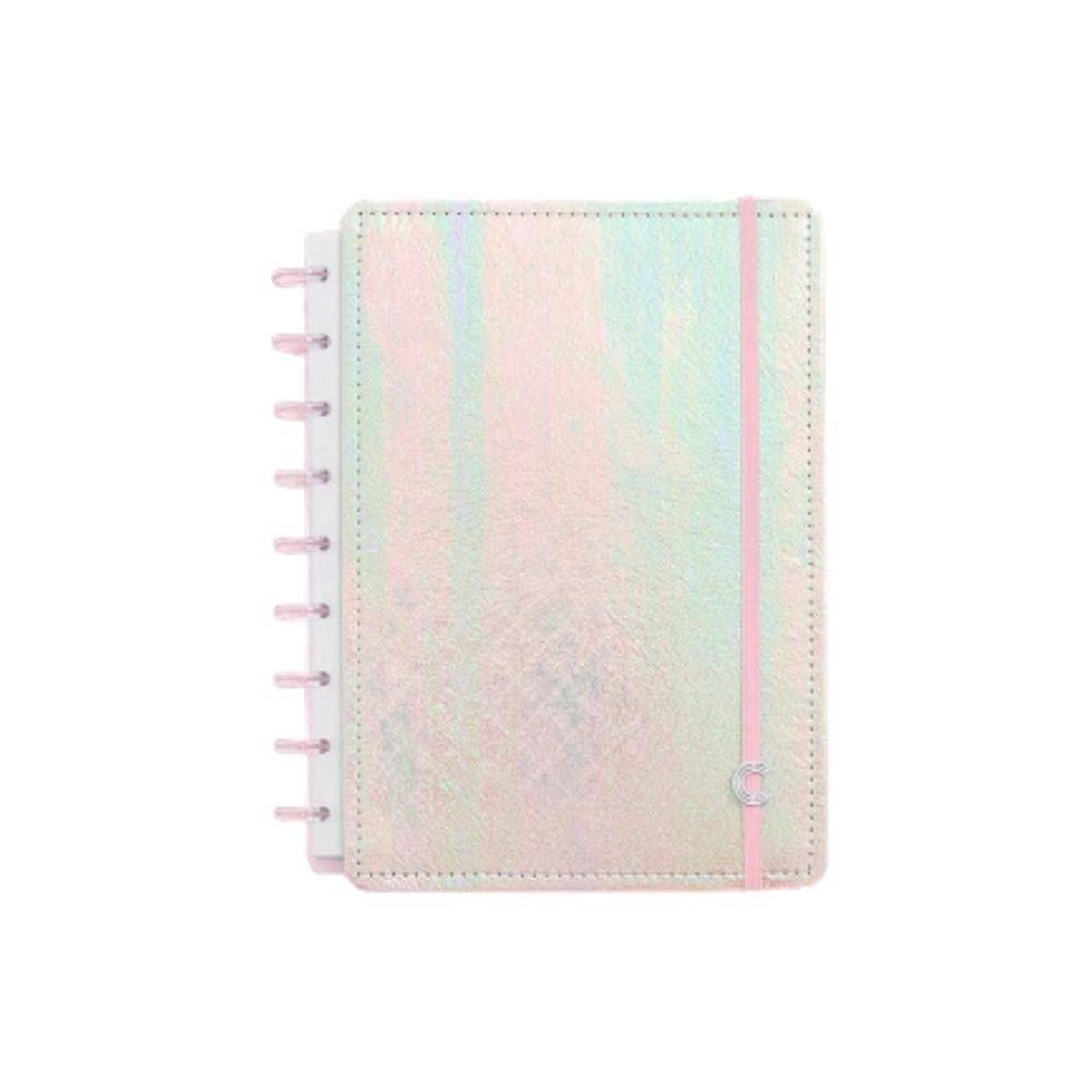 Caderno inteligente rosa holográfico médio