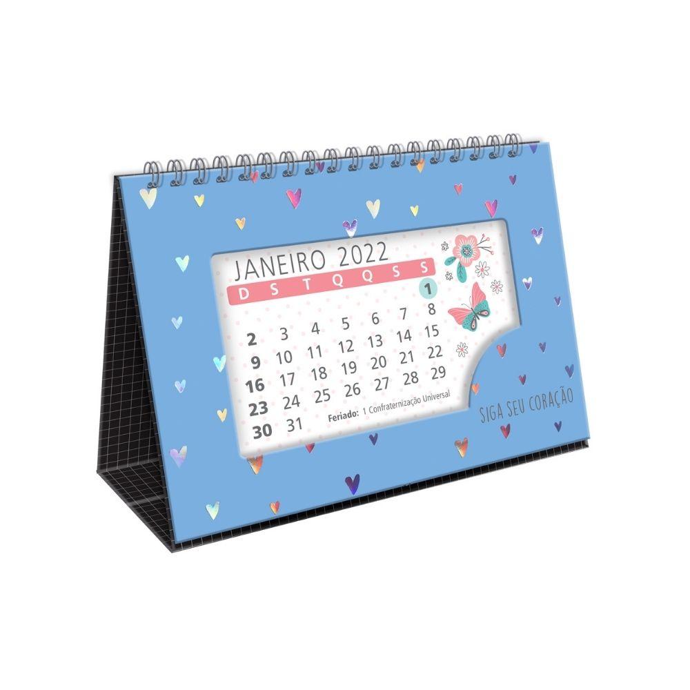Calendário de mesa Corações holográficos azul - 2022
