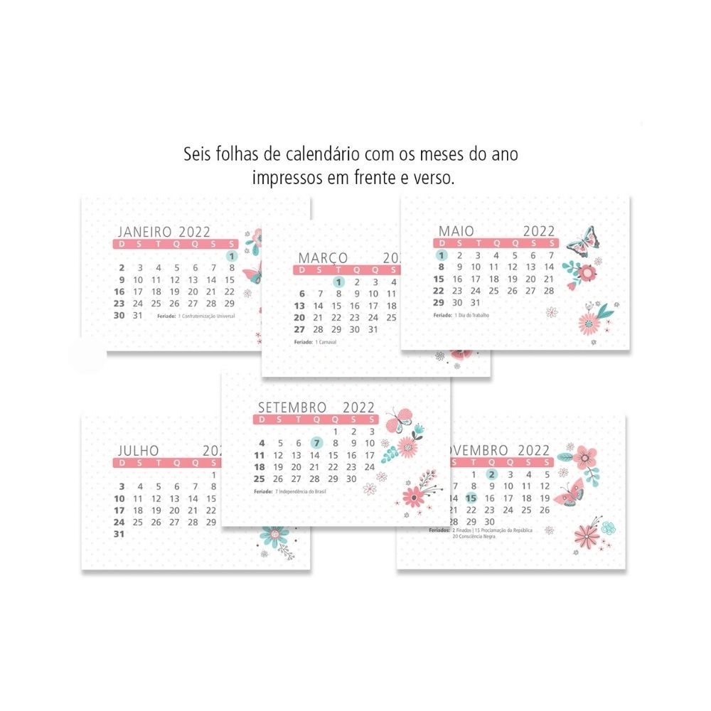 Calendário de mesa Frases coloridas - 2022