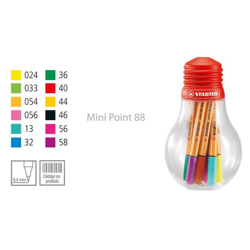 Caneta stabilo point 88 mini colorful - com 12 unid