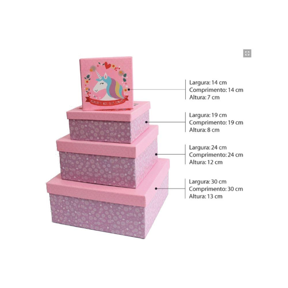 Conjunto de caixas quadrada unicórnio