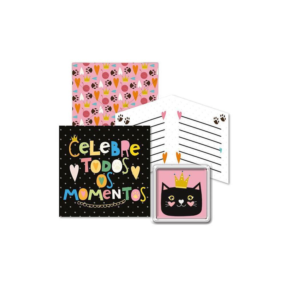 Kit com imã e cartão gato