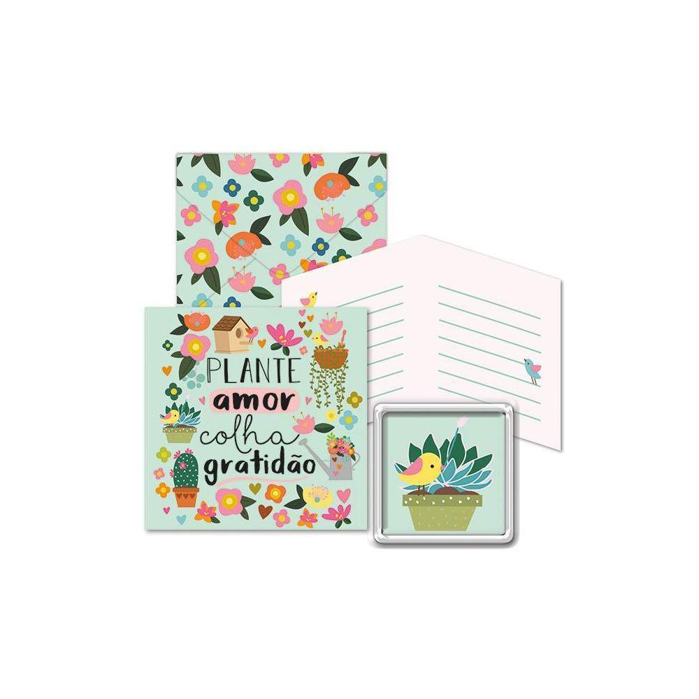Kit com imã e cartão jardim