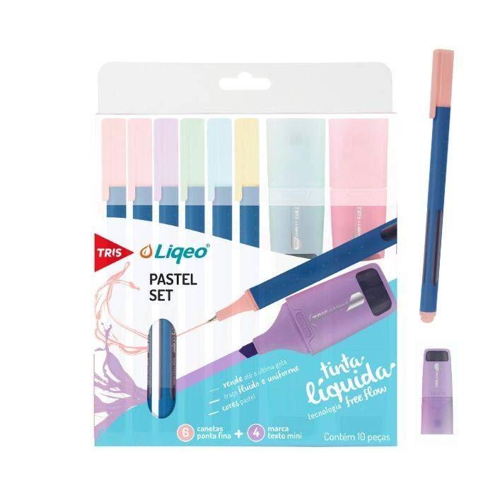 Kit liqeo caneta superfina + mini marca texto pastel tris