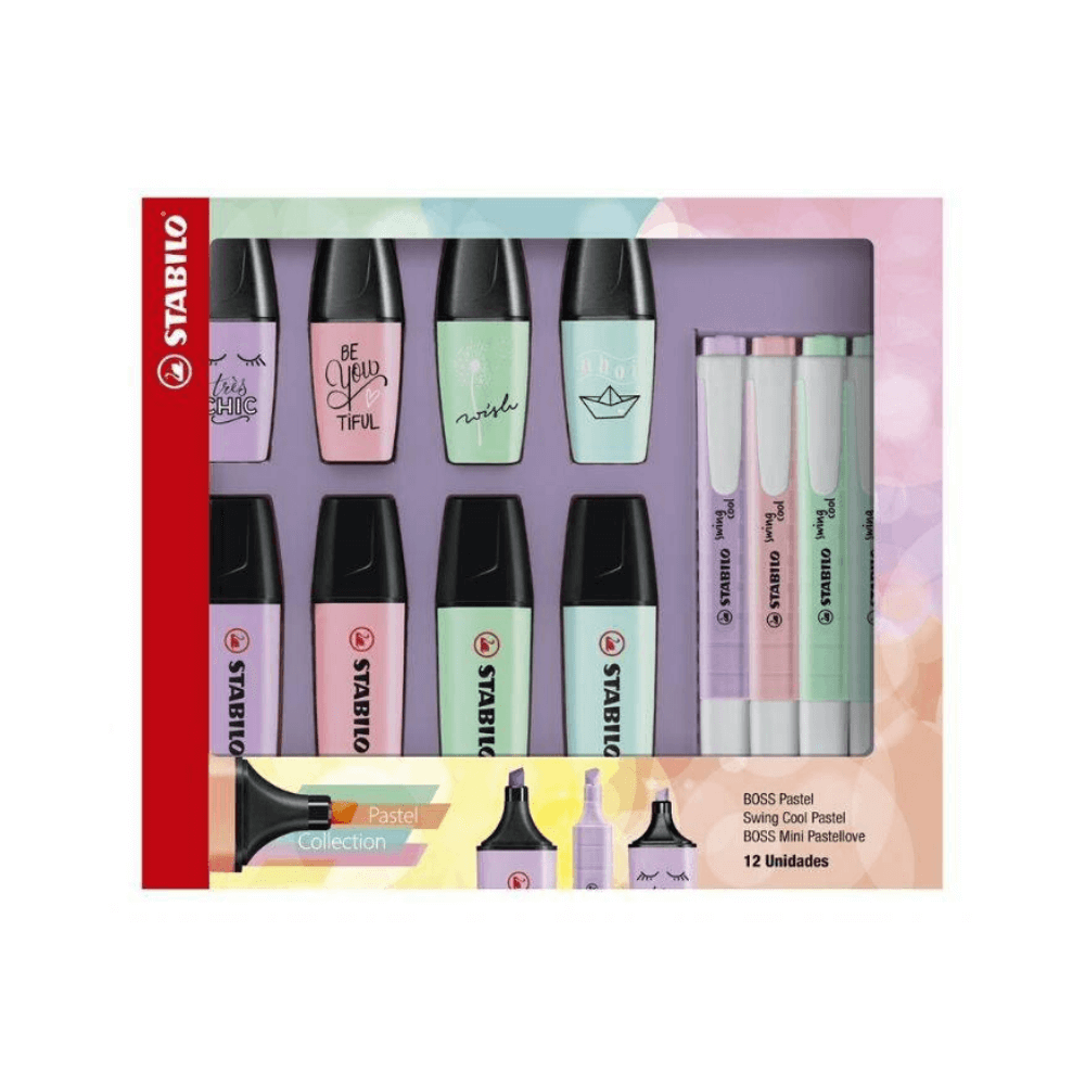 Kit stabilo boss pastel + mini pastel love + swing cool pastel - 12 unid
