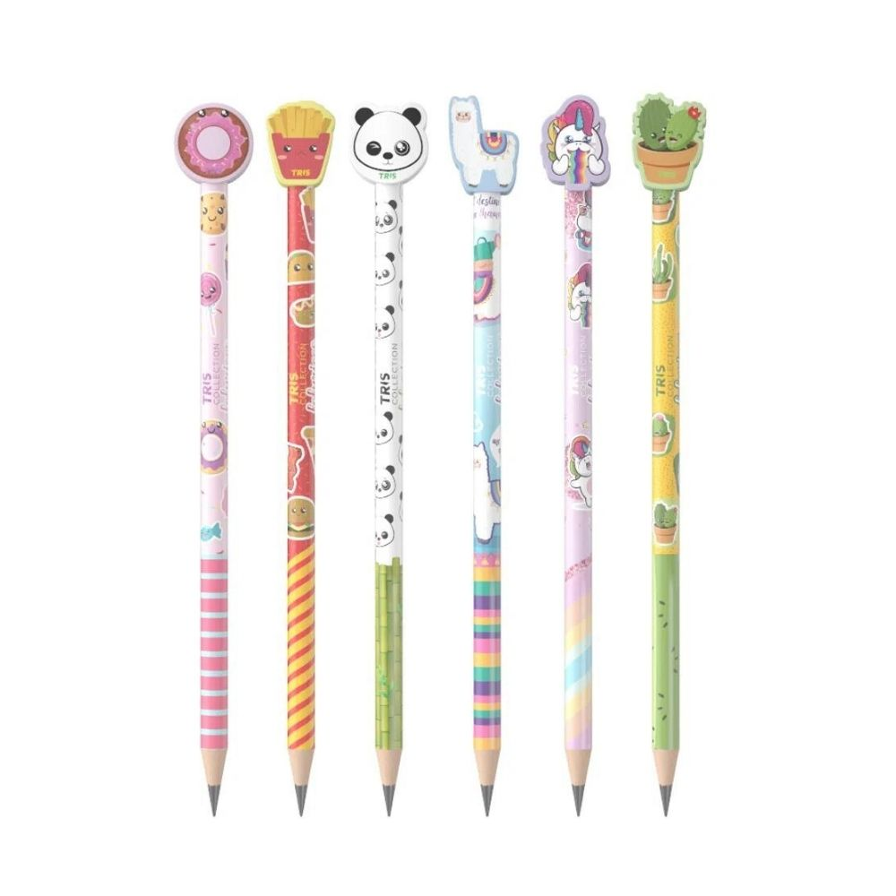 Lápis preto com borracha fofurices - Tris