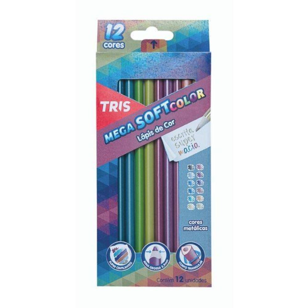 Lápis tris de cor mega soft metálico
