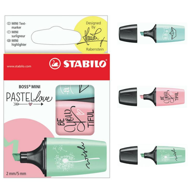 Marca texto stabilo mini boss pastel - kit com 3 unid.