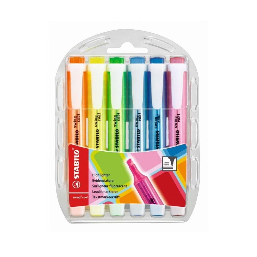 Marca texto stabilo swing cool neon kit com 6