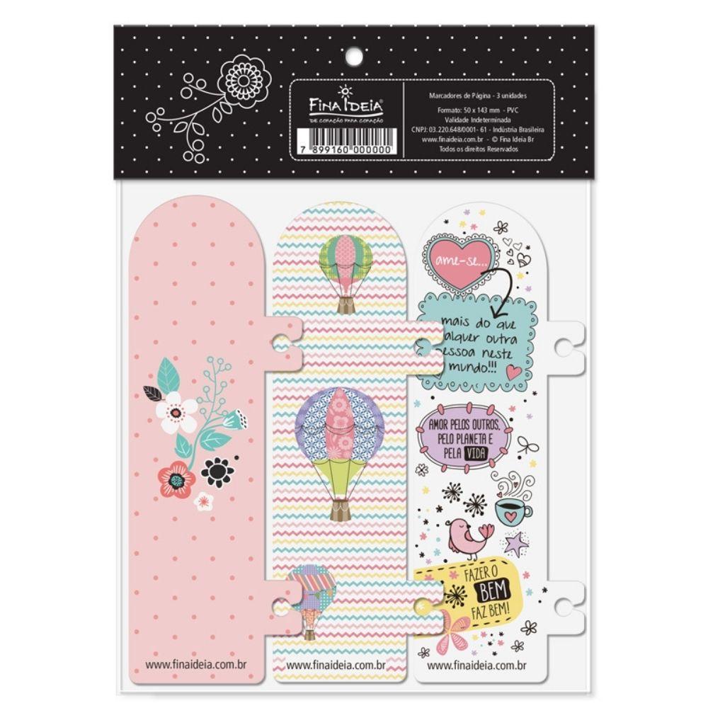 Marcador de páginas - Beija-flor, nuvem, floral