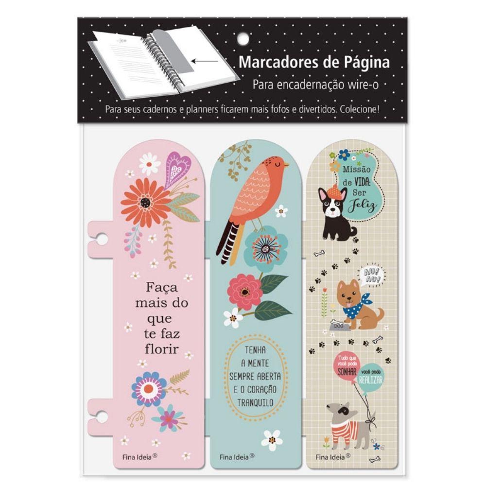 Marcador de páginas - Fiore, pássaros, cachorro