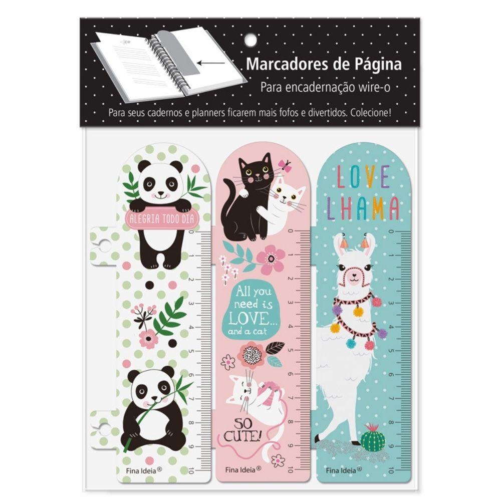 Marcador de páginas - Panda, gatos, lhama