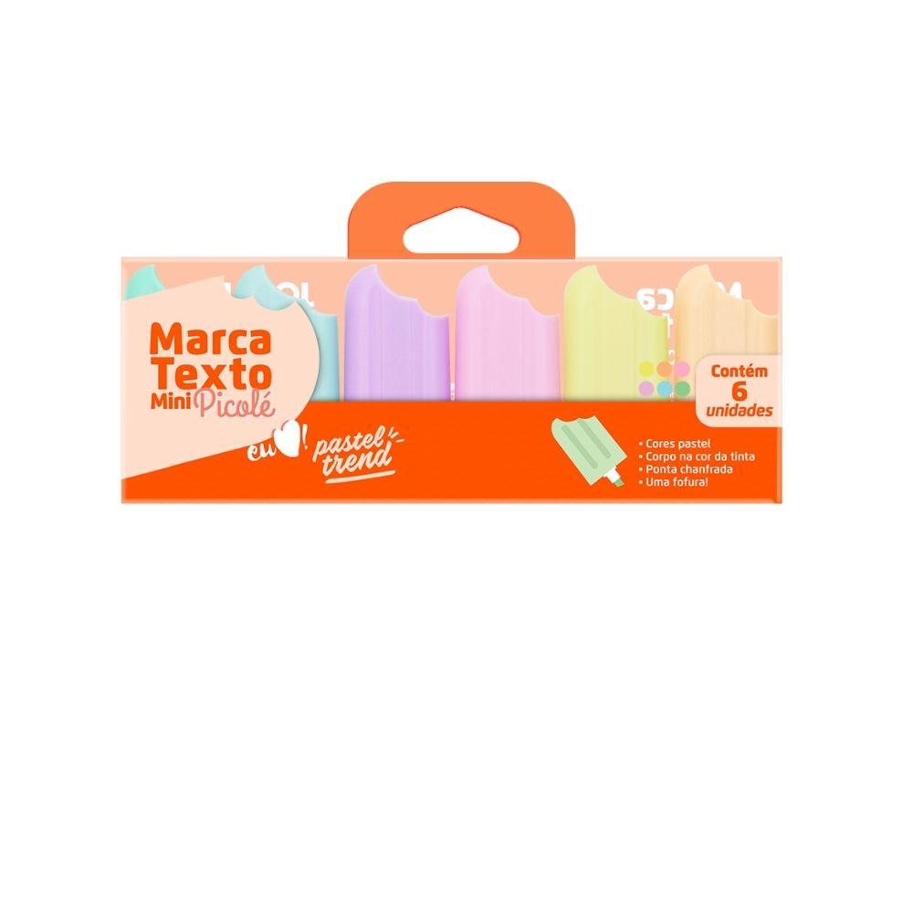 Mini marca texto picolé pastel - Conjunto com 6 unid