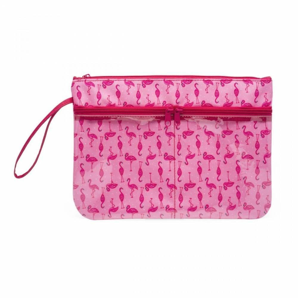 Necessaire com bolsos flamingos