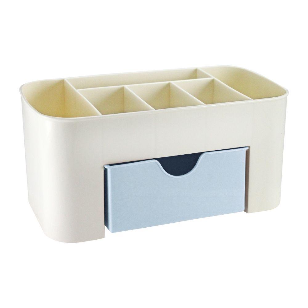 Organizador de mesa multifuncional azul com gaveta