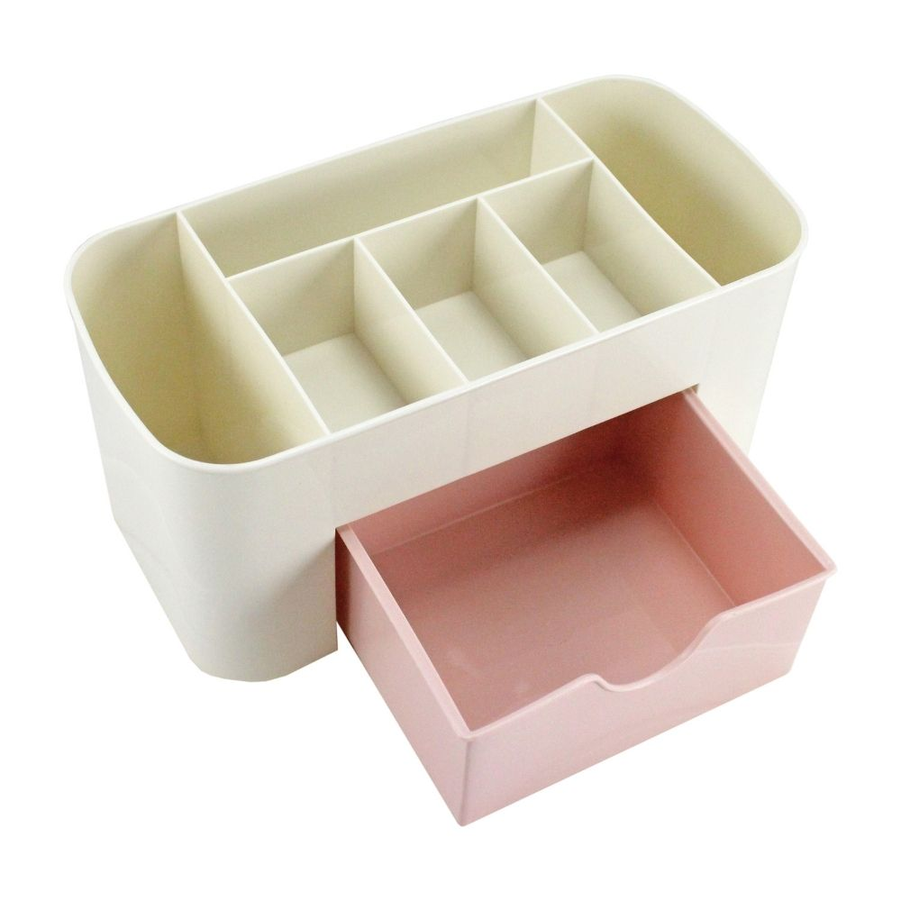 Organizador de mesa multifuncional rosa com gaveta