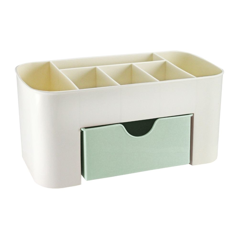 Organizador de mesa multifuncional verde com gaveta