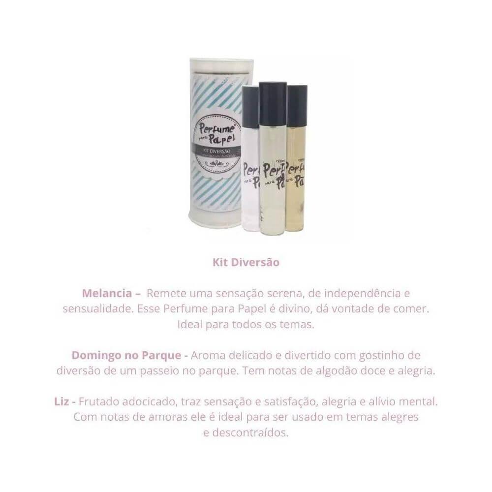 Perfume para papel - kit diversão com 3 aromas de 15 ml