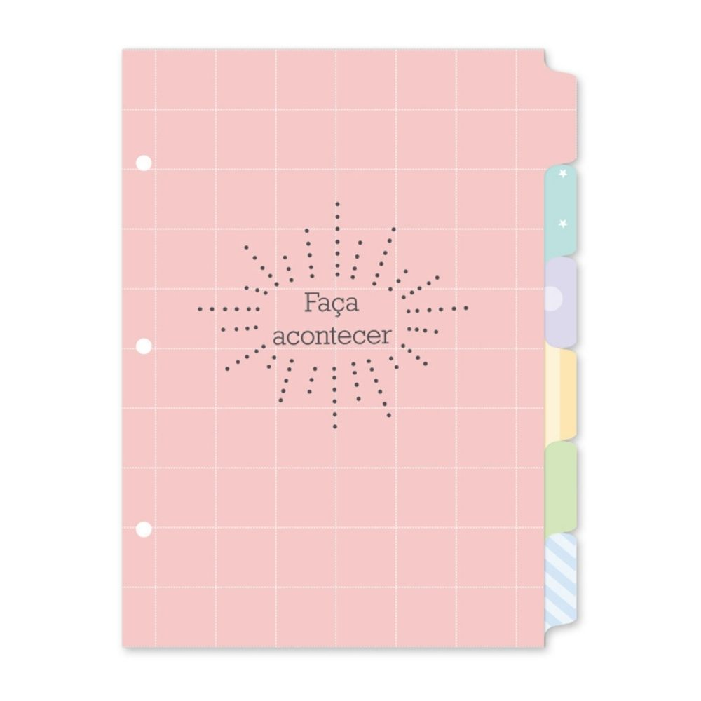 Refil divisórias coloridas para Caderno Argolado