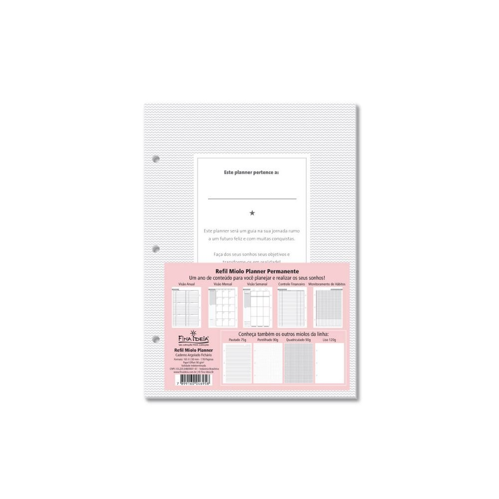 Refil miolo para planner permanente caderno argolado fichário