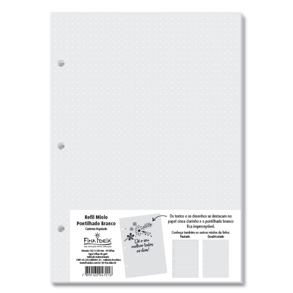 Refil Pontilhado branco para caderno argolado - 50 fls.