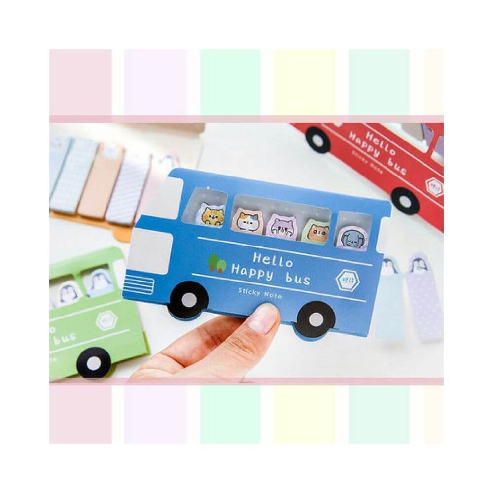 Sticky note happy bus